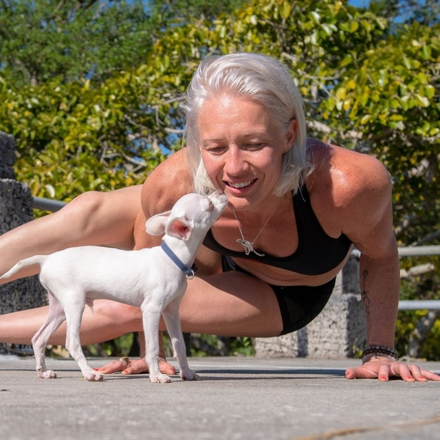 DOGA in the Garden this Thursday night!  Bring your mat or your blanket and join Yoga Instructor Nikki McGowan from Red Cheetah Yoga and her lovable pup Sparkles the Unicorn Dog as they share their best poses and breathing techniques.  No experience necessary. $20 per pup. Cash preferred.  Register at the Palmetum Lawn when you arrive. 🐶 . Link in bio to reserve your tickets to Dog Date 🐶 5:30 - 7:30PM . @redcheetahyoga @nikkithefairy
